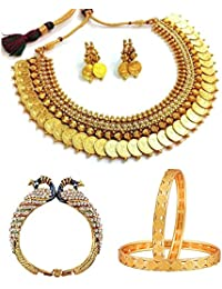 Zenem White Temple Coin Necklace, Peacock Design Kada & Temple Coin Bangle Combo Set Jewellery For Women & Girls