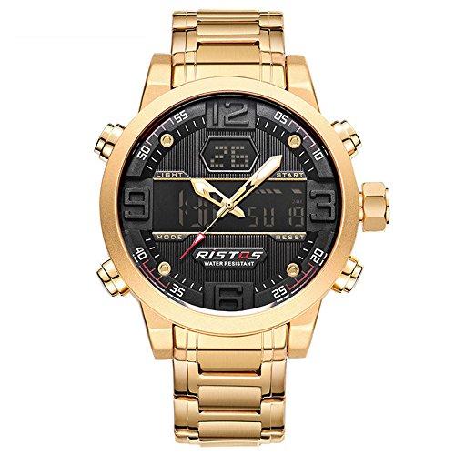Mens Simulation Digital Commerce Watch Männer Double Casual Stahlgürtel Uhr Business Kalender Luminous Wasserdicht Quarzuhr (Color : Gold)