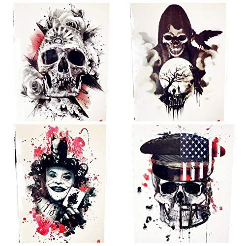 lihaohao Halloween Horrifying Demon Tattoo Frauen Brust Joker Magier Tattoo Aufkleber Bein Taille Schwarz Men15X21Cm 4Pc (Sie Stellen Joker Halloween Kostüm)