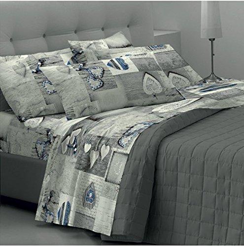 Set lenzuola matrimoniali / completo letto goldenhome emma: coppia federe + lenzuolo sotto con angoli + lenzuolo sopra - fantasia cuori grigi