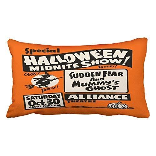 CHSUNHEY Dekor Kissenbez¨¹ge Cushion Cover Custom Vintage Spook Show Poster Halloween Midnite Show Throw Pillow Covers Cushion Cover Case 20X30 Inches Pillowcases,Eco-Friendly Print