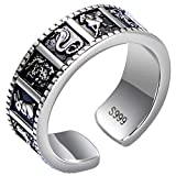 luzhongqiu 825-Silber Schmuck Vintage Thai Silber zwölf Tierkreis Ring Öffnung Ring