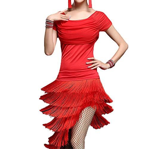 Tango Rumba Latin Dance Dress Frauen geraffte mesh kurzarm quasten fringe flapper latin dance dress erwachsene rumba ballroom dancewear bühne leistung wettbewerb dance kostüme für Erwachsene - Geraffte Rock Bühne