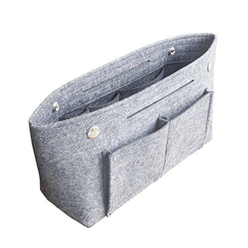 APSOONSELL Bag in Bag Handtaschen Organizer Filz, Taschen Organisator für Handtaschen, Innentaschen für Handtaschen, Hellgrau, Mittel (26 x 16 x 10.5 cm)