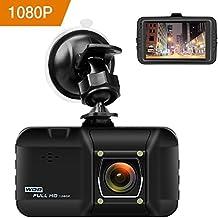 OKEEY Cámara de Coche 1080P FHD Dash Cam Gran Angulo 170° 3.0 LCD VIdeocámara DVRG-sensor Grabadora de Detección de Movimiento Ciclo de Grabación Pantalla LCD Visión Nocturna