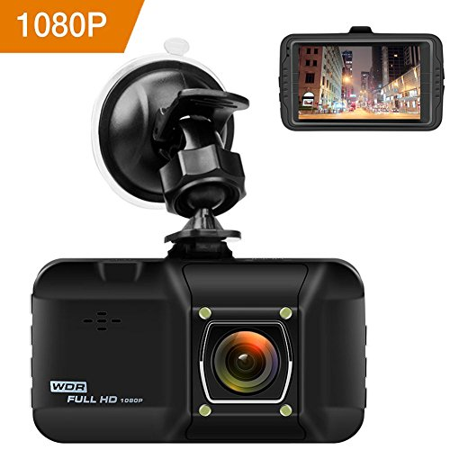 Dash Cam 3.0 Inch Car Camera - OKEEY 1080P FHD Dashboard Cam Recorder 170 ° Wide Angle WDR Built In G-Sensor Loop Recording 24 Hours Parking Monitoring with Night Vision