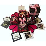 Crack of Dawn Crafts 3 Layered Romantic Heart Explosion Box - Pink Love