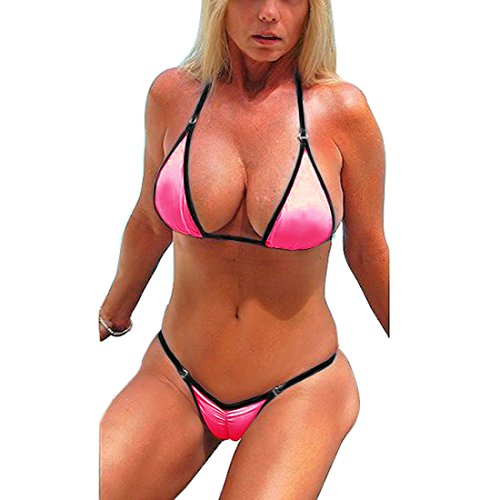 SHERRYLO Rosa / Weiß Scrunch Butt Bikini Damen Bademode (Pink, L) (Slingshot Tanga)