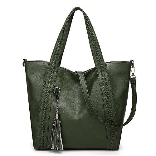 Kanqingqing Damen PU Ledertasche Lässige weiche Leder gewebt Handtaschen Mode Quaste große...