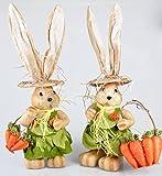 Hase und Häsin aus Papier Textil und Stroh - Osterdeko Osterhase Osterhäsin Deko Paar aus Hase und Häsin