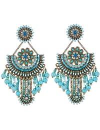 Vincent Filac - BO14111BZ - Indiana - Boucles d'Oreilles Femme - Métal - Turquoise