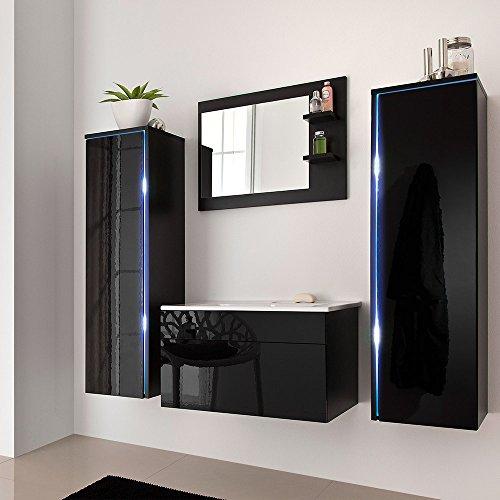 Home Deluxe – Badmöbel-Set – Sylt Schwarz – inkl. Waschbecken und komplettem Zubehör