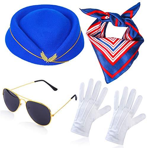 Für Kostüm Paare Jahre 60er - Haichen Damen Stewardess Kostümzubehör Flugbegleiterin Hut mit Stewardess Cosplay Kostümzubehör - 4 Stück (A)