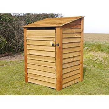 BURLEY 4FT - WOODEN LOG STORE/GARDEN STORAGE WITH DOORS, BROWN, HEAVY DUTY, HAND MADE, PRESSURE TREATED.