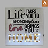 Wooden Wall Hanging Décor With Led Lights For Decoration & Laser Cut Alphabets With Screen Painted Graphics For Ambient Lighting For Home As Innovative Gift Items For Multipurpose Occasions| 100% Termite Free Natural Wood Art-piece Gift Of Love