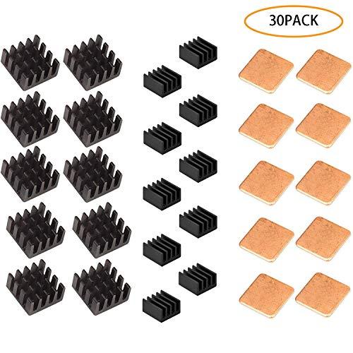 GCOA 30 Pezzi Raspberry Pi Dissipatore alluminio + spessori pad in rame + 3M Nastro adesivo conduttivo termico per dispositivo di raffreddamento Cooler Raspberry Pi 3 B +, Pi 3 B, Pi 2, Pi Modello B +