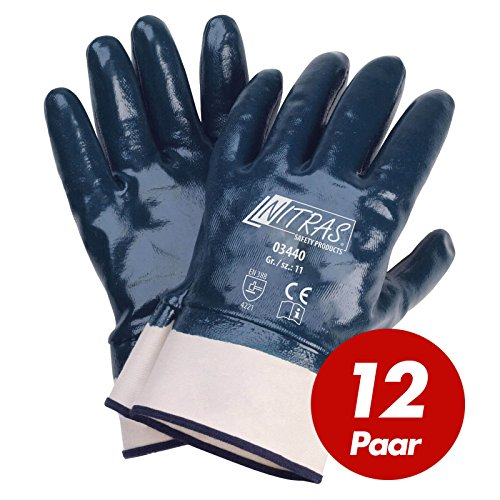 NITRAS 03440 Nitrilhandschuhe Arbeitshandschuhe Handschuhe mit Stulpe - 12 Paar, Größe:10 (XL)