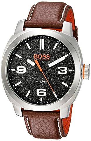 BOSS Orange Herren 'Kapstadt' Quarz Edelstahl und Leder Casual Uhr, Farbe: Braun (Modell: 1513408)