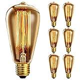 6 Pack vintage light bulb 40W, Oak Leaf E27 Edison Bulb ST64 Retro Light Bulb (Old Fashioned Style), Squirrel Cage Tungsten Filament Glass Antique Lamp | 2400K