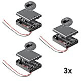 3 Stück Batteriehalter für 3x Mignon AA Akkuhalter Batteriefach mit Schalter Ein Aus