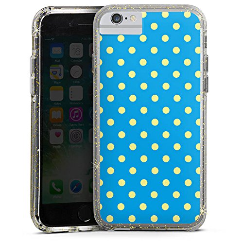 Apple iPhone X Bumper Hülle Bumper Case Glitzer Hülle Dots Blue Blau Bumper Case Glitzer gold