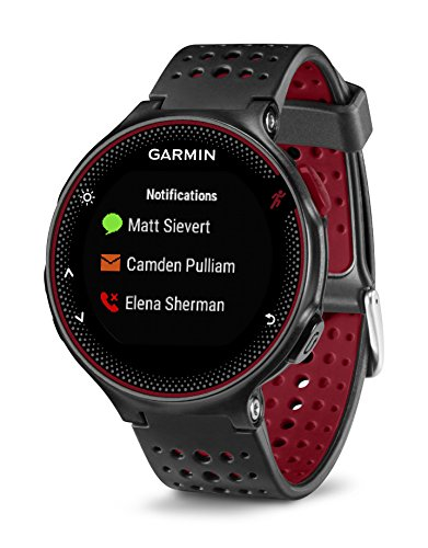 Garmin Forerunner 235 GPS Running Watch with Elevate Wrist Heart Rate and Smart Notifications – Black/Marsala Red