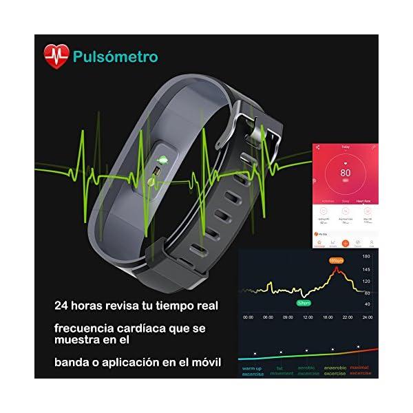 Willful Pulsera Actividad, Pulsera Actividad Inteligente Pantalla Color Reloj con Pulsómetro Impermeable IP68 Podómetro Pulsera Deportiva Reloj para Xiaomi Samsung Huawei Android iPhone iOS Teléfono 5