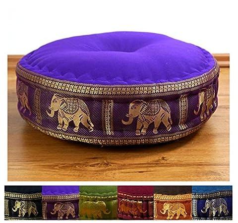 Zafukissen Seide mit Kapokfüllung, Meditationskissen bzw. Yogakissen, rundes Sitzkissen / Bodenkissen (lila / Elefanten)