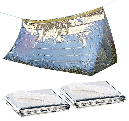 Semptec Urban Survival Technology Survivalzelt: 2er-Set Notfall-Zelte für 2 Personen, hitzeabweisend, kältedämmend (Zelt zum Überleben)