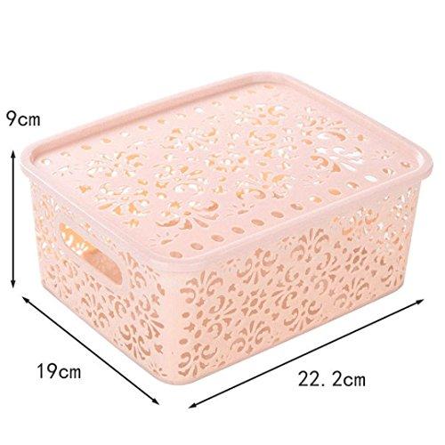 Xshuai Hohe Qualität Große Kapazität 22.2 * 19 * 9cm Plastik Hohle Lagerung Korb Box Bin Container Organizer Kleidung Wäsche Haushalter (Beige / Grün / Blau / Rosa) (Beige)