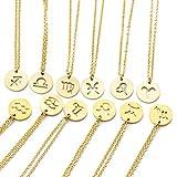 snoil Sternzeichen Halskette Kette Damen Schmuck Edelstahl Horoskop (Skorpion Gold)