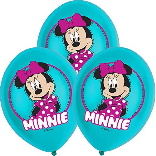 Neu: 6 Luftballons * Minnie Maus * als Dekoration für Kindergeburtstag und Mottoparty | Mouse Disney türkis Mädchen Deko Feier Luftballon Ballon Luftballon Happy Birthday (Minnie Maus Happy Birthday)