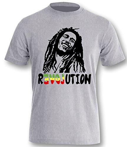 Bob Marley Revolution Herren T-Shirt Grau-Schwarz Grösse ()