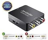 JarGaBo HDMI zu 3RCA CVBS Composite AV Konverter 1080P für Xbox360 Blu-Ray Sky HD VHS VCR DVD DVR, Schwarz