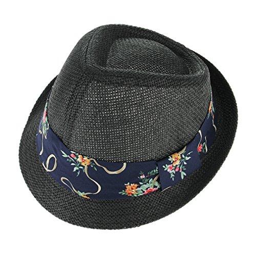 GEMVIE Chapeau Trilby Ruban Classique Plage Voyage Soleil Été Homme Hat Noir