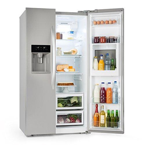 Klarstein Grand Host XXL • Side-by-Side Kühl-Gefrierkombination • Kühlschrank • stromsparende LEDs • 550 Liter Eis- und Wasserspender • 45 dB leise • Total NoFrost-Technik • silber