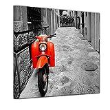 Bilderdepot24 Kunstdruck - Retro Roller - Bild auf Leinwand 60 x 60 cm - Leinwandbilder - Bilder als Leinwanddruck - Wandbild Motorisiert - schwarz weiß - roter Motorroller