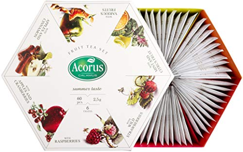 ACORUS Sommergeschmack - natürlicher Früchtetee-Set in sechs unterschiedlichen Geschmacksrichtungen in schöner Geschenkverpackung (60 Teebeutel)