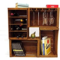 Cassette della frutta,portabottiglie,libreria,mini arredo wine bar modulare composto da 4 cassette vintage cm 51x31x28 // casse mele, legno, arredamento, upcycling, rustico.