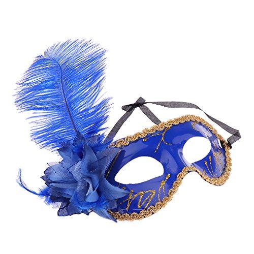 Gazechimp Maskenball Augenmaske mit Feder Blume Maske Fasching Partei Kostüm - Blau