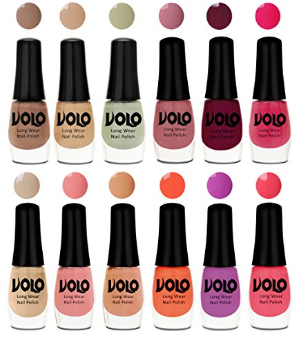 Volo Color Rich Toxic Free Perfection Shine Nail Polish Set of 12 (Dark Nude, Nude, Mischievous Mint, Nudes Spring, Passion Pink, Wine, Candy Cotton, Dark Nude, Nude, Bright Plum, Coral, Light Pink)