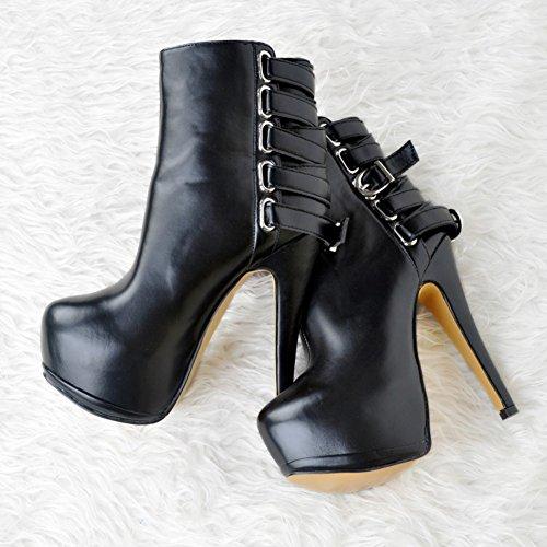 Kolnoo Damen Faschion 14.5cm runder Zehe Wölbungs Bügel dünner Absatz Knöchel Aufladungs reizvolle Schuhe Black