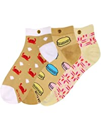 The Moja Club - Women's Quirky, Funky Socks (Ankle Length) - [Pack of 3] - Designs = ( Macroon , Aquatic , Pink Patterned )