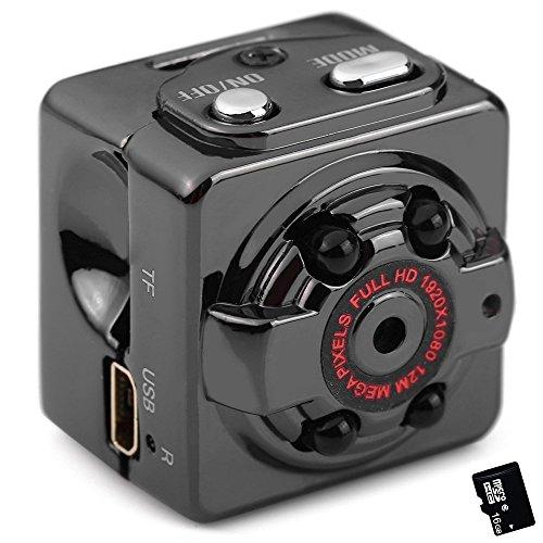 CITTATREND 1080P SQ8 Mini Portable Caméra Action Espion Cam DV Cachée Full HD 12MPs Dashcam Enregistreur DVR de Voiture Vision Nocturne IR avec 16Go Micro Carte TF Détecteur de Mouvement Intérieur / Extérieur Sports Sécurité Maison Surveillance