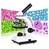 TELMU Microscope for Kids and Students 40X-1000X Compound Microscopes with Handle Metal Optical