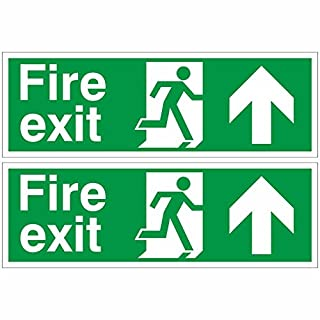 Pack of 2 Fire Exit Arrow Up Signs 300mm x 100mm - Self Adhesive