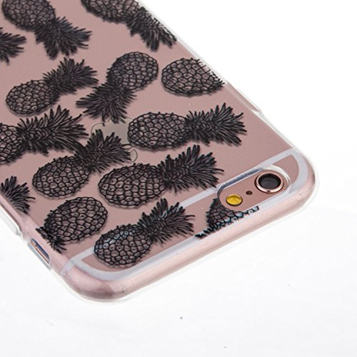 Coque iPhone 6S,Coque iPhone 6,Étui iPhone 6S,ikasus® Coque iPhone 6S / 6 Silicone Étui Housse Téléphone Couverture Transparent TPU avec Black peinte Motif Mandala de fleurs Ultra Mince Premium Semi H Noir Ananas