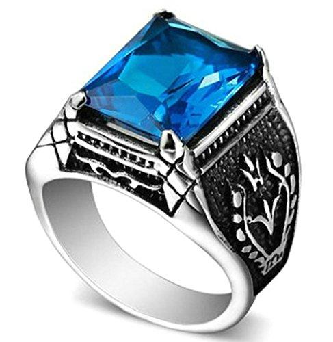 Coniea Anillos Boda Acero Rectángulo Grabado Vintage Forma Azul Cristal Anillo Azul Acero Talla 15