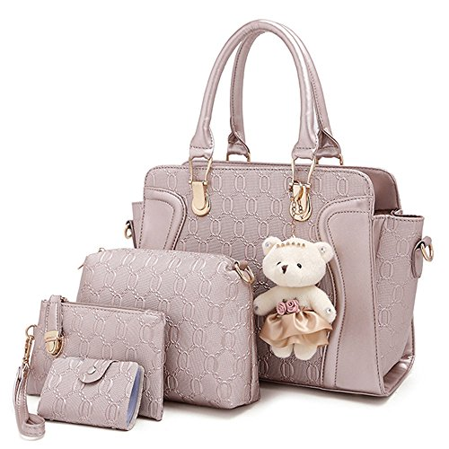 women-4-pieces-leather-handbags-clutches-shoulder-bag-wallet-card-bag-set-golden