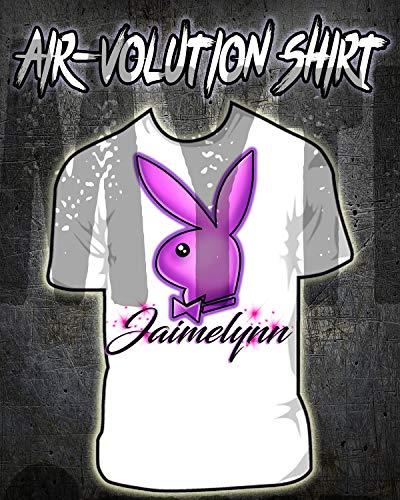 Mythic Airbrush Personalisierte Airbrushed Häschen-Hemd Kinder- / Erwachsen-Größen Weiß -